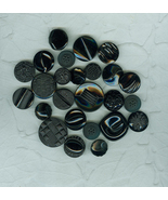 25 Vintage Black Glass Czech Buttons Friendship Bracelet Crafts - $12.99