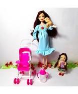 New Barbie Pregnant Midge Doll Happy Family Barbie doll Baby Trolley Nur... - $13.02