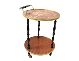 Vtg 60s Mid Century Modern MCM Rolling Brass Wood Floral Inlay Bar Cart ... - $364.28