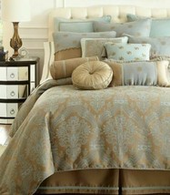 Waterford Castle Cove Queen Duvet Cover Blue Green - $180.37