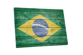 "Pingo World 0621Q6ALWZ4 ""Vintage Brazil Flag"" Gallery Wrapped Canvas Wal... - $158.35"
