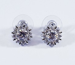 CZ by Kenneth Jay Lane Silver Classic Pinwheel Halo Round Sparkly Stud E... - $26.95