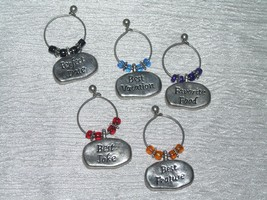Estate Lot of 5 Silvertone w Colored Beads & Different Sayings Wine Glas... - $9.49
