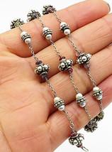 925 Sterling Silver - Vintage Garnet & Pearl Bali Style Beaded Necklace - N1874 - $106.84