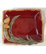 Christmas Serving Platter Pine Bough and Pine Cones Plate Red Holiday - $25.74