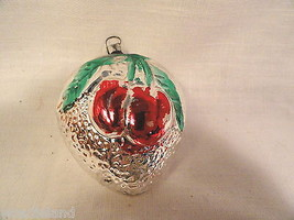 Figural Glass Heart with Embossed Cherries Chri... - $19.99