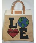 Brighton Leather Jute Tote Bag Purse Love Makes the Earth Go Round Heart... - $29.70