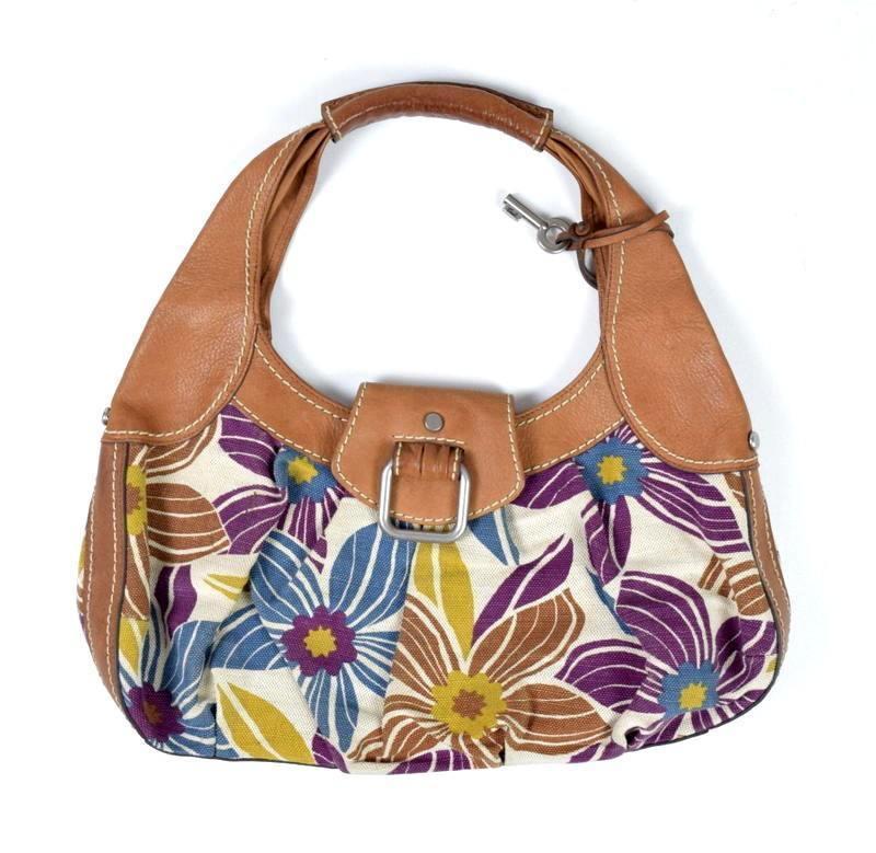 f56c0a5cf55e S l1600. S l1600. Previous. FOSSIL Floral Canvas   Brown Leather Hobo  Shoulder Hand Bag Purse Satchel Sack