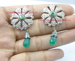 925 Sterling Silver Antique Rose Cut Vintage Diamond Onyx Dangle Earrings - $305.75