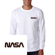 NASA EMBROIDERED Long Sleeve White T Shirt US - $21.99