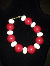Monet vintage large bead bracelet, red and white - $19.99