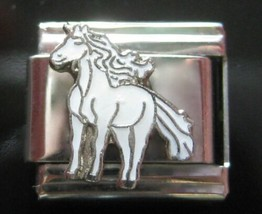Unicorn Horse White Italian Charm fits Classic 9mm Bracelets - $5.06