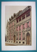 ARCHITECTURE Beautiful Color (2) Prints -VICTORIAN Mansion Paris Rue Fai... - $53.96