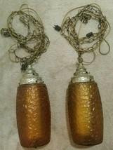 Vintage Mid Century 2Pc Large Orange Amber Glass Hanging Swag Chain Lamp... - $349.99