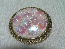 Vintage Western Germany Signed Carved Pinkish Aurora Borealis Plastic Fl... - $12.19