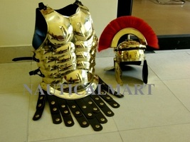 Nauticalmart Medieval Brass Greek Muscle Armor With Red Plume Roman Helmet  - $260.00