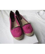 Michael Kors Keli Espadrille Loafers Moccasins Flats Canvas Hot Pink 6.5 M New - $73.26