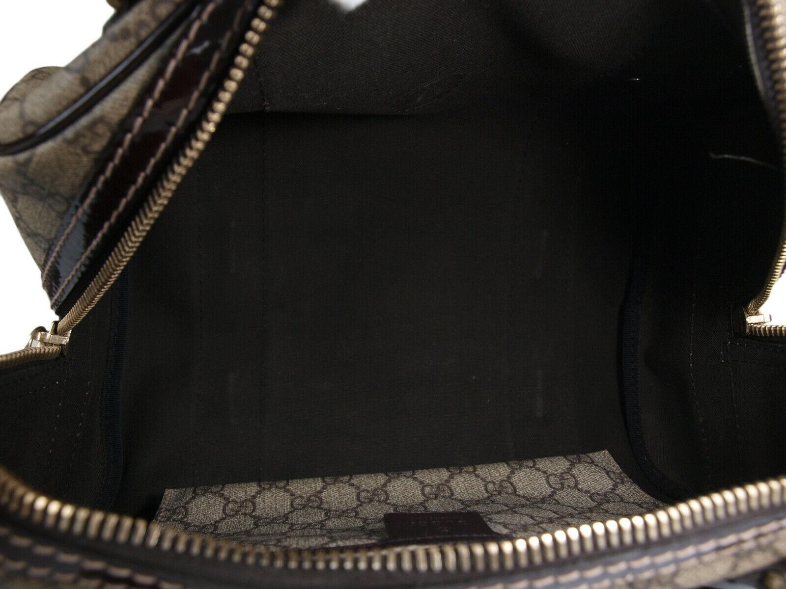 GUCCI GG Web PVC Canvas Patent Leather Browns Shoulder Bag GS2242 image 8