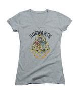 Harry Potter Hogwarts Distressed Logo V Neck Baby Doll Juniors Shirt NEW... - $19.99