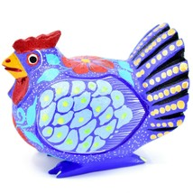 Handmade Alebrijes Oaxacan Wood Carved Painted Chicken Hen Rooster Figurine - $29.69