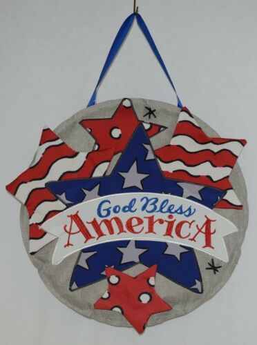 FabriCreations 2355 God Bless America Red White Blue Star Round Fabric Decor
