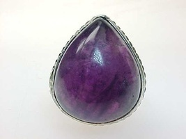 HUGE AMETHYST Vintage Ring in STERLING Silver - Size 7 3/4 - $95.00