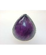 HUGE AMETHYST Vintage Ring in STERLING Silver - Size 7 3/4 - £74.65 GBP
