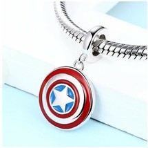 Pandora 925 Sterling Silver Super Hero captain Shield Charm Bead with Re... - $19.99
