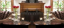 2 Stunning Scrollwork Candle Stand with 8 Glass Cups Vase in Center Centerpieces - $56.21