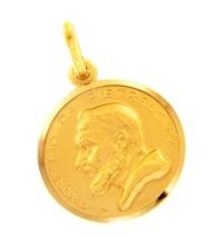 18K YELLOW GOLD MEDAL PENDANT, SAINT PIO OF PIETRELCINA 17mm VERY DETAILED image 1