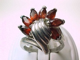 GARNETS in STERLING SILVER Vintage Ring - Size 7 1/2 - FREE SHIPPING - $75.00
