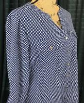 Notations Women's Blue and White Modern Geometric Polka Dot Top Size LG NWT - $29.69