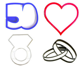 50th 50 Year Wedding Anniversary Vow Renewal Set Of 4 Cookie Cutters USA... - $9.99