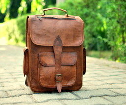 Mens Genuine Vintage Leather Messenger Man Business Laptop Backpack Satc... - $64.35