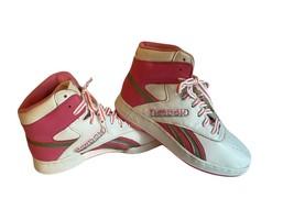 Vintage 80s reebok pop high top shoes pink white silver stripes laces si... - $54.44