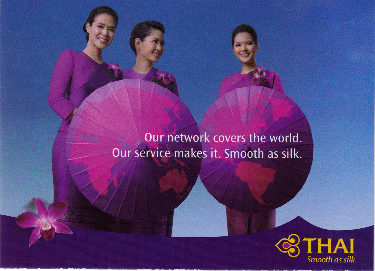 4 Thai Airways Royal Orchid Service Postcards