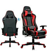 Bluetooth Speakers PC & Racing Game Chair Comfortable Luxury Game Red Chair - $252.44