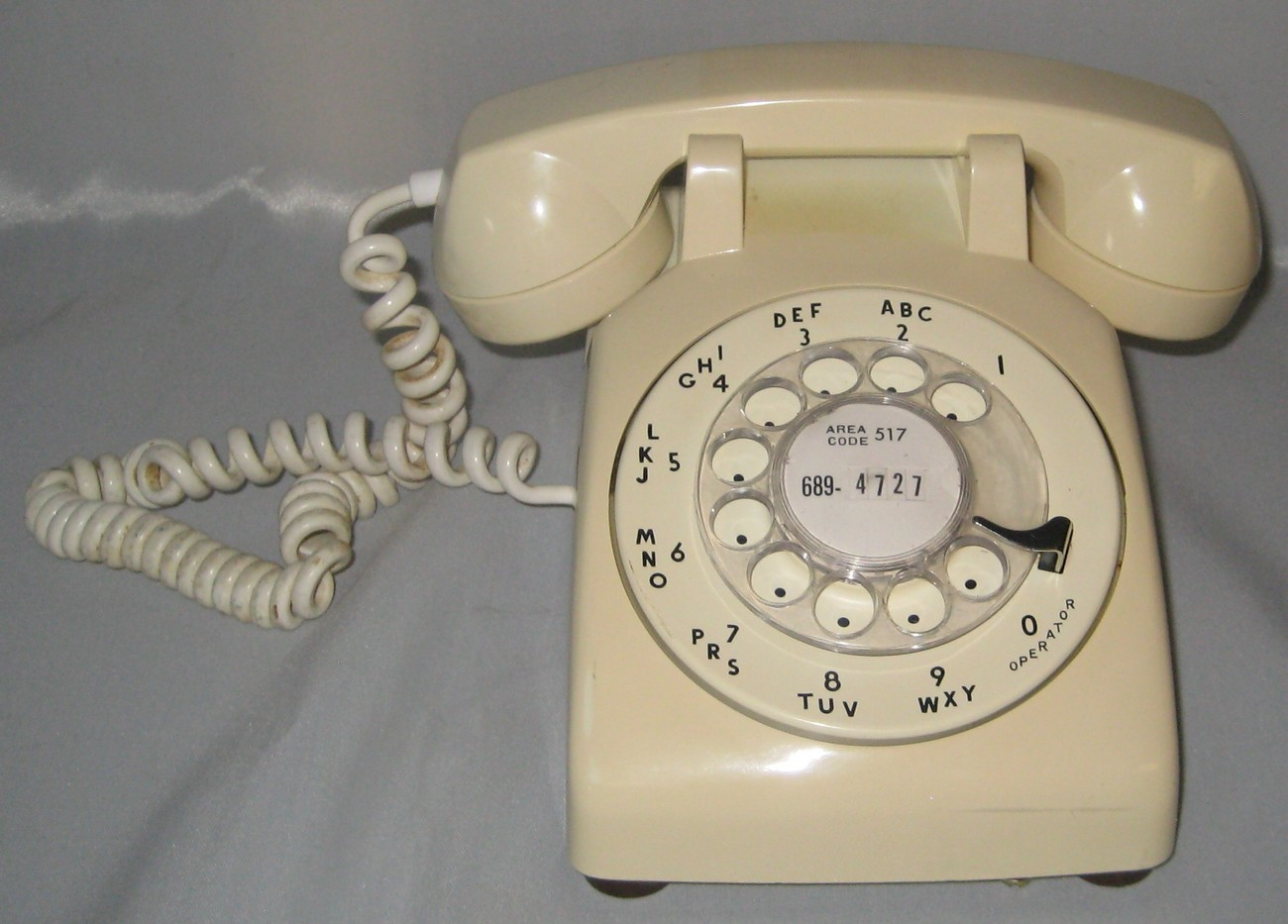 Desktop Rotary Phone White In Color Hard Wired 1940 69