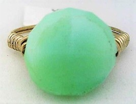 Blue Opal Gemstone Bead Wire Wrap Ring - $15.77
