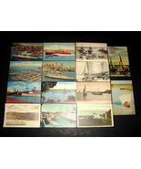 14 1935-60s POSTCARDS Ships Fishing Boat Sailboat USS United States Quee... - $12.34