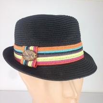 Panama Jack Unisex Fedora Woven Hat Black Colorful Stripes Band One Size - $19.97
