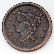 1853 Large Cent in XF Condition, All Brown Color, Nice Detail for Grade - $64.34