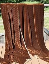 "Embossed Velvet Fabric 6 3/8 Yds X 49"" Swirls Curley Cues Brown New Lux - $118.79"