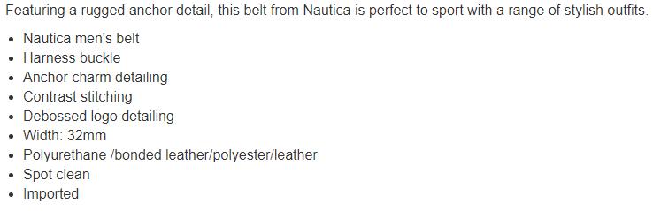 Nautica Anchor Charm Dress Belt Tan, XL