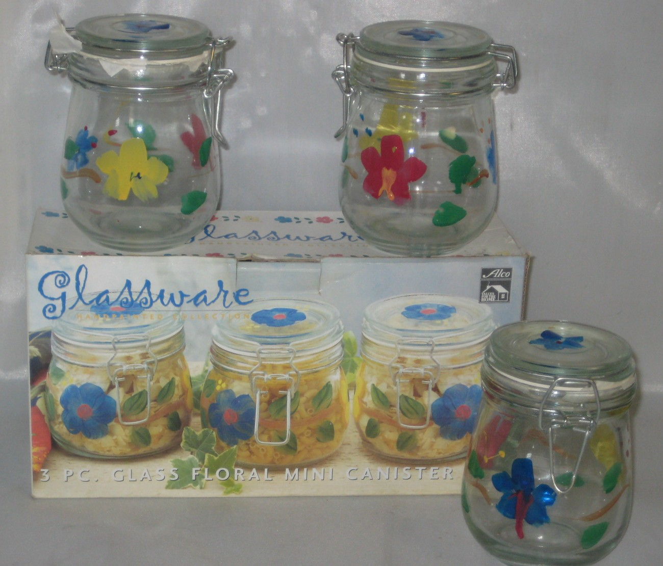 Alco glass handpainted floral mini canister set