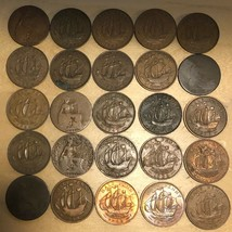 Lot of 25 British Half Pennies (Lot 209) - $12.95