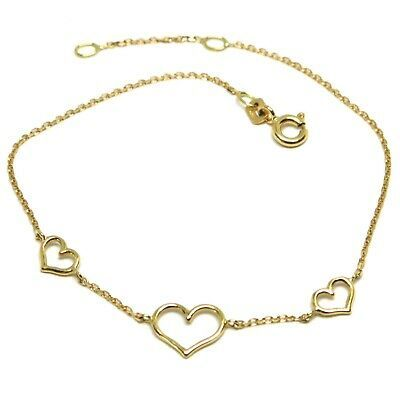 18K YELLOW GOLD SQUARE ROLO MINI BRACELET, 7.5 INCHES, 3 HEARTS, MADE IN ITALY