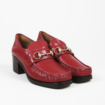 Gucci Red Leather Horsebit Loafer Pumps SZ 37 - $605.00