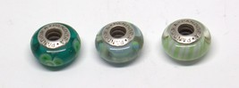 LOT OF 3 THREE PANDORA STERLING SILVER GREEN GLASS BEADS #DBW *P14 - $24.39