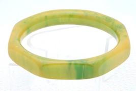 Vtg Yellow Green Octagonal Marbled End Of Day Bakelite Tested Bangle Bracelet - $123.75